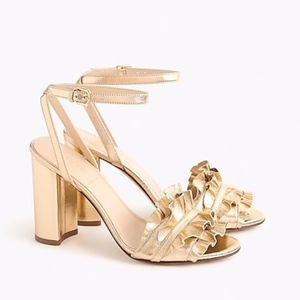 NWOT Ruffle-strap heels (100mm) in metallic gold